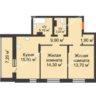 2 комнатная квартира 71,2 м² в ЖК Подкова на Цветочной, дом № 9 - планировка