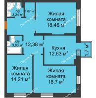 3 комнатная квартира 85,83 м² в ЖК Новоостровский, дом № 2 корпус 1 - планировка