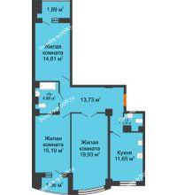 3 комнатная квартира 88,94 м² в ЖК Университетский 137, дом Секция С1 - планировка