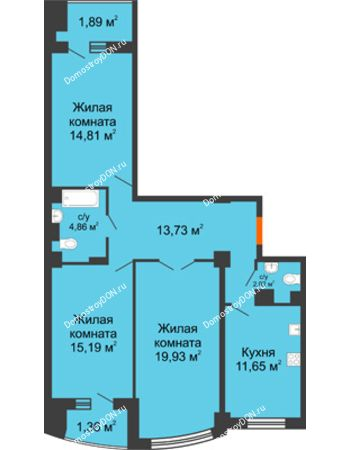 3 комнатная квартира 88,94 м² в ЖК Университетский 137, дом Секция С1