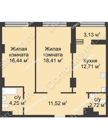 2 комнатная квартира 67,62 м² в ЖК Караваиха, дом № 5