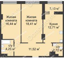 2 комнатная квартира 67,62 м² в ЖК Караваиха, дом № 5 - планировка