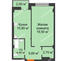 1 комнатная квартира 45 м² в ЖК Парк Островского 2, дом № 1 - планировка