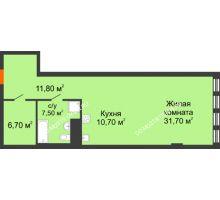 Студия 60,49 м² в ЖК Георгиевский, дом 2а - планировка