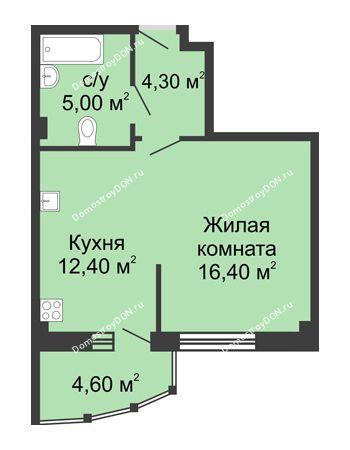 1 комнатная квартира 43,6 м² в ЖК Мега, дом № 2
