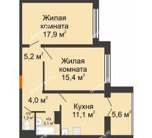 2 комнатная квартира 59,7 м² в ЖК Крымский квартал, дом позиция 1 - планировка