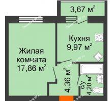 1 комнатная квартира 38,08 м² в ЖК БелПарк, дом 2 очередь - планировка