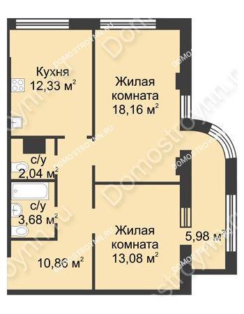 2 комнатная квартира 63,14 м² в ЖК Караваиха, дом № 5