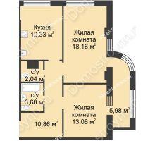 2 комнатная квартира 63,14 м² в ЖК Караваиха, дом № 5 - планировка