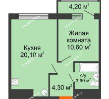 1 комнатная квартира 43,3 м², ЖК Дом № II-3 в мкр. Елецкий - планировка