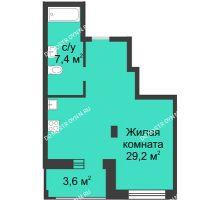 Студия 38,4 м² в ЖК Аквамарин, дом № 6 - планировка
