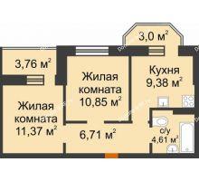 2 комнатная квартира 45,7 м² в ЖК Светлоград, дом Литер 16 - планировка