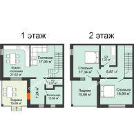 """3 комнатный таунхаус 147,02 м² в КП Ясная поляна, дом """"Ванкувер"""" 147,02 м² - планировка"""