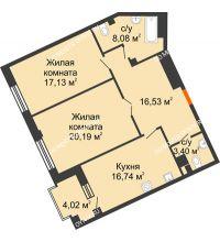 2 комнатная квартира 84,08 м², Дом премиум-класса Коллекция - планировка