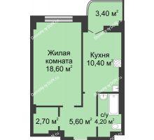 1 комнатная квартира 43,2 м², ЖК 8 марта - планировка