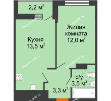 1 комнатная квартира 33,4 м², ЖК Акварели-3 - планировка