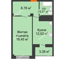 1 комнатная квартира 43,46 м² в ЖК Солнечный, дом № 2 - планировка