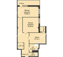 2 комнатная квартира 78,5 м² в  ЖК РИИЖТский Уют, дом Секция 1-2 - планировка