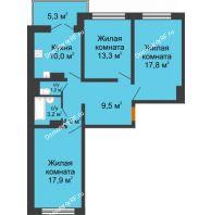 3 комнатная квартира 78,4 м² в ЖК Лазурный, дом 30 позиция - планировка
