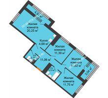 3 комнатная квартира 80,53 м² в ЖК Дом на Набережной, дом № 1 - планировка