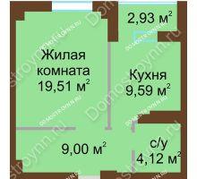 1 комнатная квартира 43,69 м², ЖК Грани - планировка