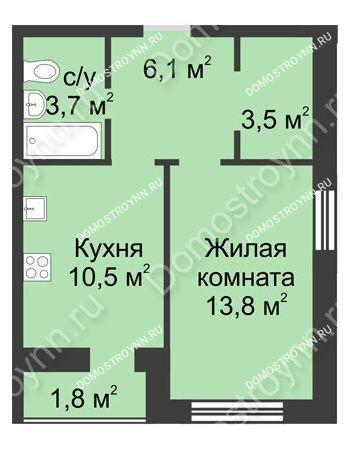 1 комнатная квартира 39,4 м² - ЖК Дом на Иванова