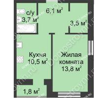 1 комнатная квартира 39,4 м², ЖК Дом на Иванова - планировка