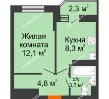 1 комнатная квартира 29,9 м² в ЖК Южный Берег, дом Литер 3 - планировка