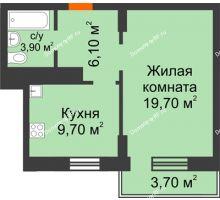 1 комнатная квартира 40,5 м² в ЖК Адмирал, дом 3 Очередь - планировка