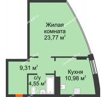 1 комнатная квартира 48,61 м², ЖК Atlantis (Атлантис) - планировка