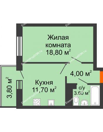 1 комнатная квартира 37,9 м² в ЖК Я, дом  Литер 2