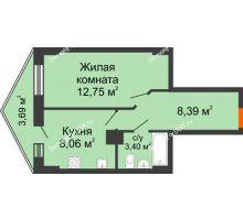 1 комнатная квартира 33,71 м² в ЖК Рубин, дом Литер 3 - планировка