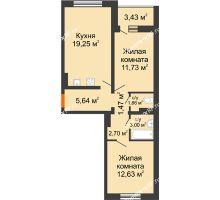 2 комнатная квартира 60 м², ЖК Инстеп.Победа - планировка