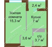1 комнатная квартира 30,8 м² в ЖК ЮГ, дом № 15 - планировка