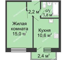 1 комнатная квартира 32,3 м² в ЖК Окский берег, дом №1, Индустриальная улица - планировка
