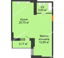 Студия 43,87 м², ЖК Орбита - планировка