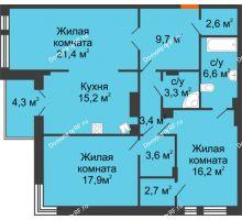 3 комнатная квартира 104,8 м² в Клубный дом Лобачевский, дом № 1 - планировка