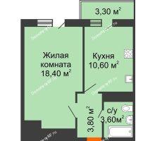 1 комнатная квартира 37,4 м² в ЖК Мелодия, дом Литер 1 - планировка