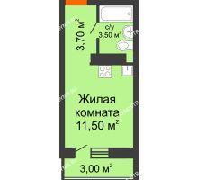 Студия 19,6 м² в ЖК Торпедо, дом № 1 - планировка