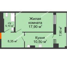 1 комнатная квартира 49,75 м² в ЖК Симфония, дом 3 этап - планировка