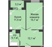 1 комнатная квартира 45,95 м² в ЖК Сердце Нижнего, дом № 35 - планировка