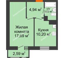 1 комнатная квартира 39,05 м² в ЖК Книги, дом № 2 - планировка