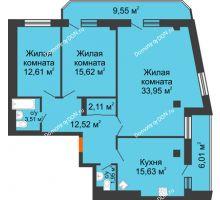 3 комнатная квартира 113,46 м² в ЖК Горизонт, дом № 2 - планировка