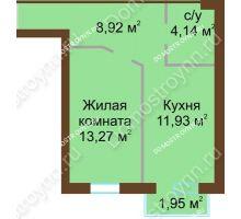 1 комнатная квартира 38,85 м² в ЖК Каменки, дом №14