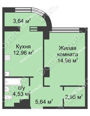 1 комнатная квартира 42,86 м² в ЖК Караваиха, дом № 5