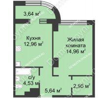 1 комнатная квартира 42,86 м² в ЖК Караваиха, дом № 5 - планировка