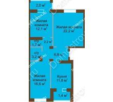 3 комнатная квартира 80 м² - Жилой дом: в квартале улиц Вольская-Витебская