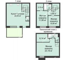 4 комнатная квартира 105 м² в КП Баден-Баден, дом № 44 (от 73 до 105 м2) - планировка