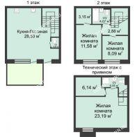 4 комнатный таунхаус 105 м² в КП Баден-Баден, дом № 44 (от 73 до 105 м2) - планировка