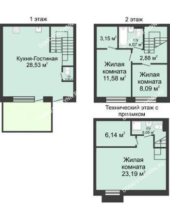 4 комнатная квартира 105 м² в КП Баден-Баден, дом № 26 (от 73 до 105 м2)